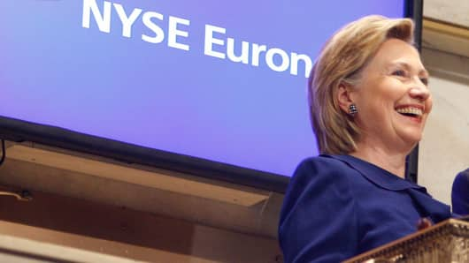 Hillary Clinton ringing the opening bell at the New York Stock Exchange in 2009. (File photo).