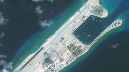 DigitalGlobe imagery of the nearly completed construction within the Fiery Cross Reef located in the South China Sea. Fiery Cross is located in the western part of the Spratly Islands group.