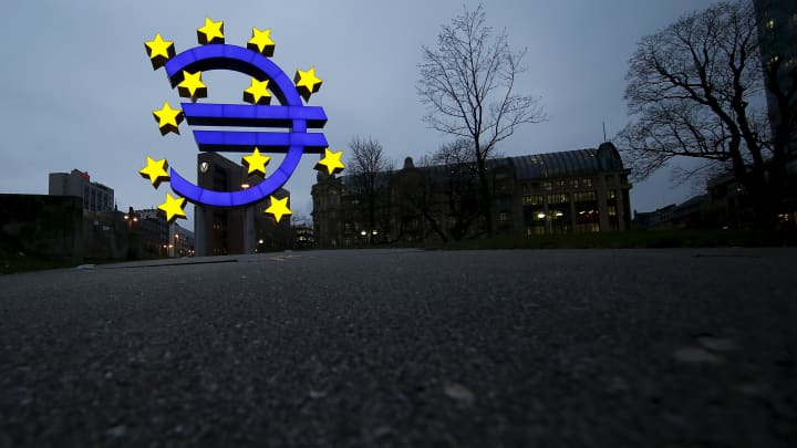 The famous euro sign landmark is pictured outside the former headquarters of the European Central Bank (ECB) in Frankfurt, Germany.