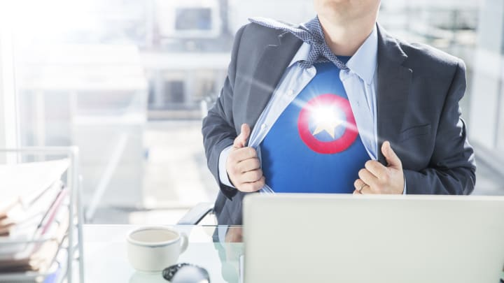Superhero at work