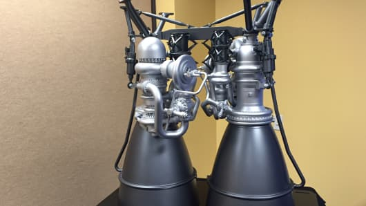 Model of Aerojet Rocketdyne's AR1 rocket engine, in development at the 32nd Space Symposium in Colorado Springs on April 12, 2016.
