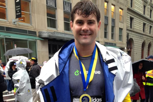 Brent Grinna, CEO of EverTrue, after completing the Boston Marathon.