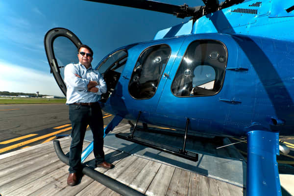 Javier Diaz left investment banking for a career that took off in a helicopter.