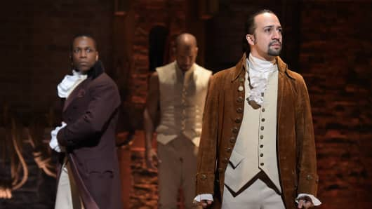 Actor Leslie Odom, Jr. (L) and actor, composer Lin-Manuel Miranda (R) perform on stage during 'Hamilton' GRAMMY performance for The 58th GRAMMY Awards at Richard Rodgers Theater on February 15, 2016 in New York City.