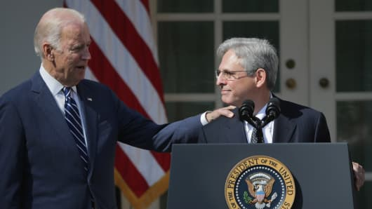 Vice President Joe Biden congratulates Judge Merrick Garland after he was nominated by U.S. President Barack Obama to the Supreme Court in the Rose Garden at the White House, March 16, 2016 in Washington, DC.