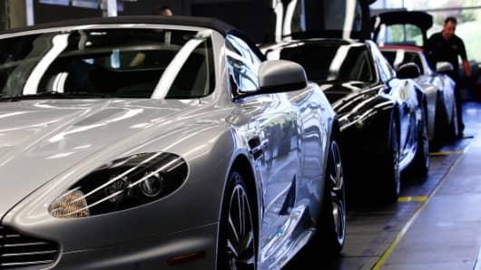 Aston Martin vehicles sit on the production line at the Aston Martin Lagonda Ltd. factory in Gaydon, U.K.
