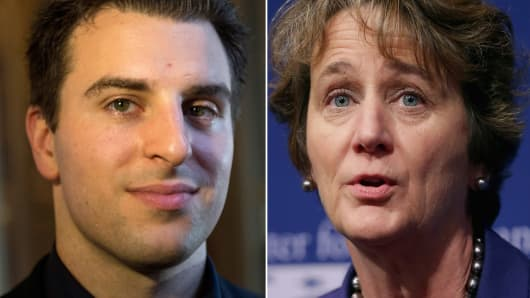 Airbnb co-founder and CEO Brian Chesky (l) and Mary Kay Henry, international president of the 2 million-member Service Employees International Union.