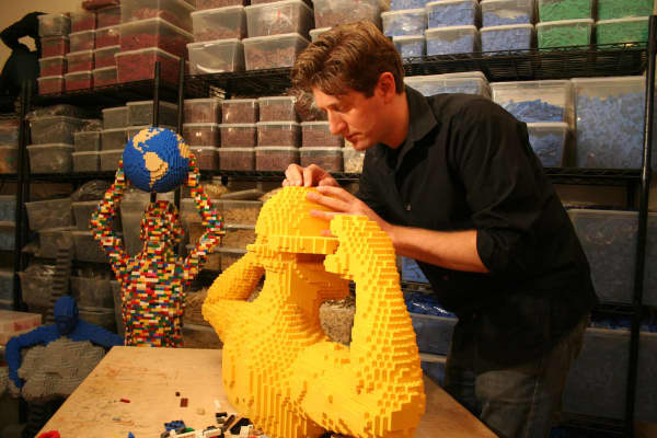 Nathan Sawaya, lawyer turned Lego artist in his studio