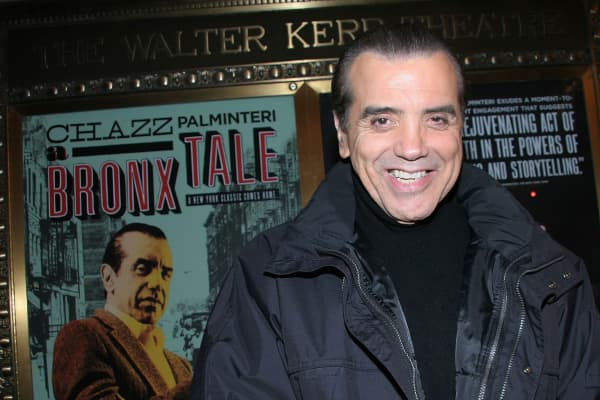 "Chazz Palminteri signs autographs at the reopening of ""A Bronx Tale"" on Broadway after the Stagehands' strike ends at Walter Kerr Theatre on November 29, 2007 in New York City."