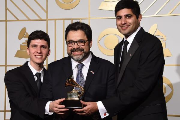 Eric Oberstein, Arturo O'Farrill and Kabir Sehgal at the Grammys