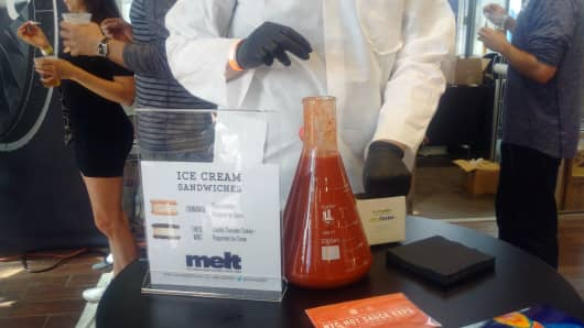 A beaker filled with GE's 10^32 hot sauce