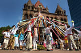 A traditional maypole dance