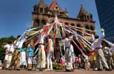 A traditional maypole dance