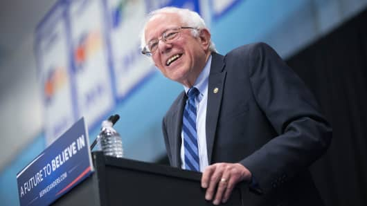 Democratic presidential candidate Senator Bernie Sanders (D-VT) speaks at a campaign event on the campus of Indiana University - Purdue University Fort Wayne May 2, 2016 in Fort Wayne, Indiana.