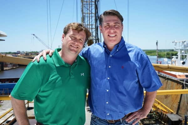 Brothers Matt and Marc Moncla run Moncla Companies, a third-generation rig operation. They've had to cut their workforce by more than 60 percent as their revenues have sank 50 percent amid a protracted oil price downturn.