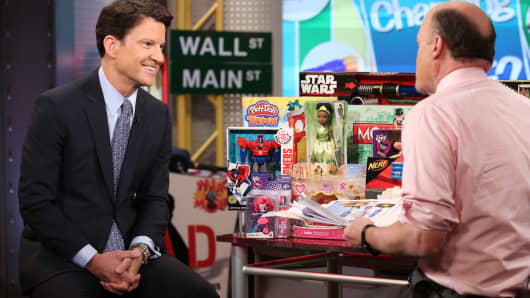 Brian Goldner, CEO of Hasbro featured on Mad Money with Jim Cramer on May 10, 2016.