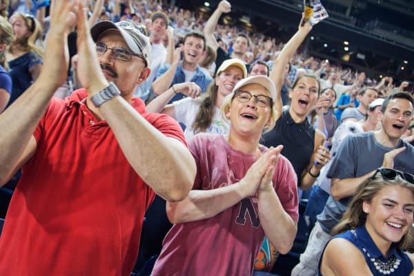 Fans at a baseball game