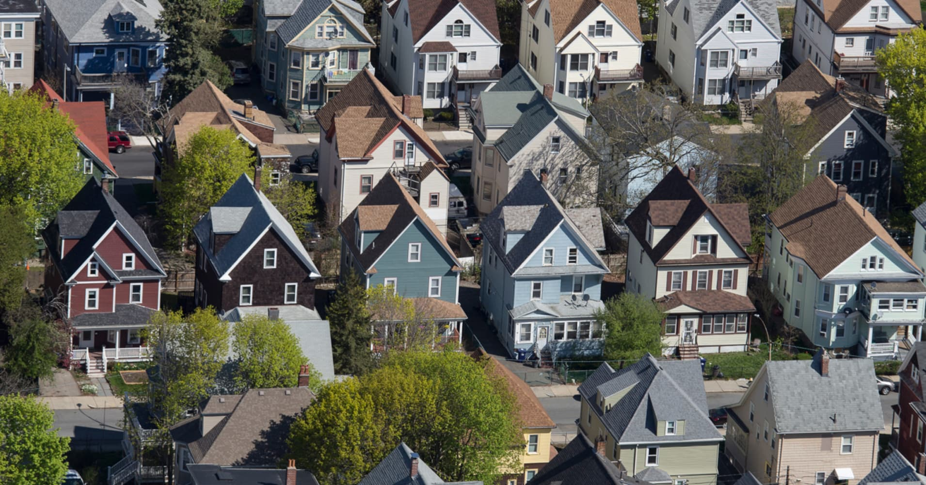 Three-decker houses in Dorchester, MA.