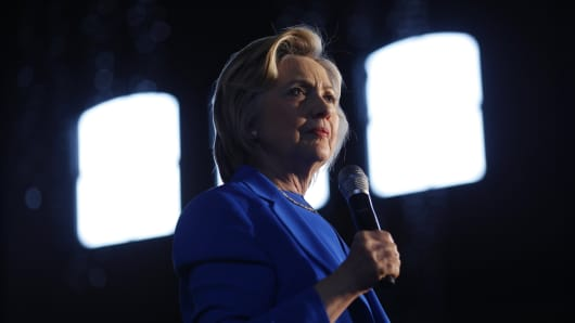 Hillary Clinton, former Secretary of State and 2016 Democratic presidential candidate, speaks during a campaign event in Louisville, Kentucky, U.S., on Tuesday, May 10, 2016.