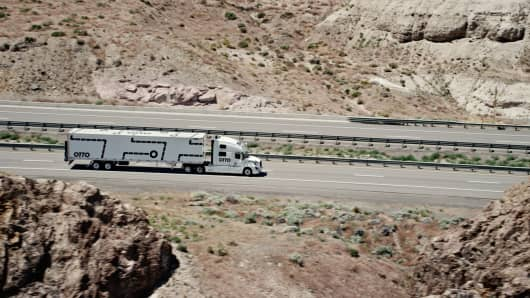 An Otto truck on the highway