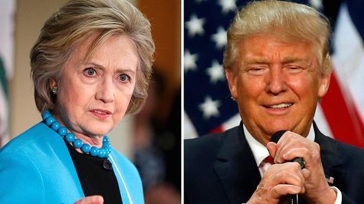Democratic presidential candidate Hillary Clinton (L) and Republican U.S. presidential candidate Donald Trump (R).