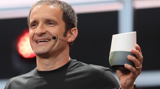 Google Vice President of Product Management Mario Queiroz shows the new Google Home during Google I/O 2016 at Shoreline Amphitheatre