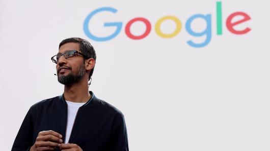 Google CEO Sundar Pichai speaks during Google I/O 2016 at Shoreline Amphitheatre