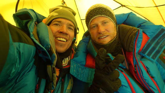 Explorer Adrian Ballinger and photojournalist Cory Richards, climbers behind EverestNoFilter Snapchat