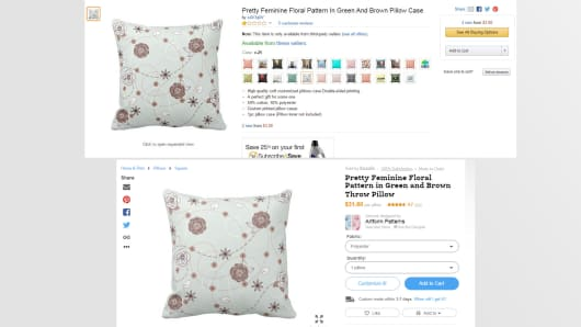 Pillow from Artform Patterns. Top is Amazon knock-off. Bottom is original on Zazzle.