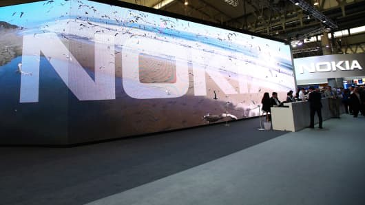 The Nokia logo is displayed at the Nokia pavillon during day four of the Mobile World Congress at the Fira Gran Via complex in Barcelona, Spain on February 25, 2016.