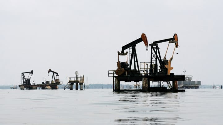 Oil pumps are seen in Lake Maracaibo, in Lagunillas, Ciudad Ojeda, in the state of Zulia, Venezuela.