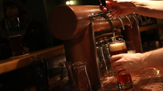 Beer being poured