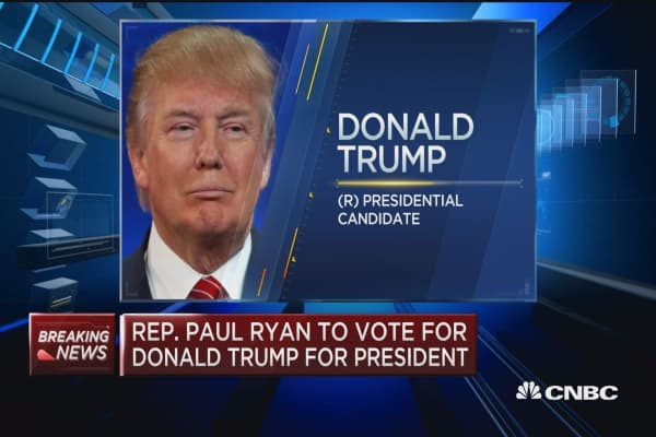 Rep. Paul Ryan to vote Trump for president