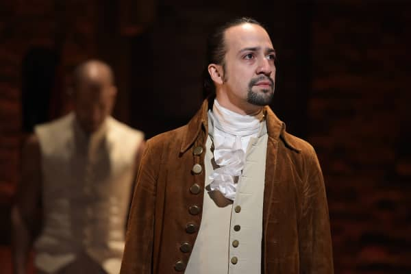 """Actor, composer Lin-Manuel Miranda performs on stage during """"Hamilton"""""""