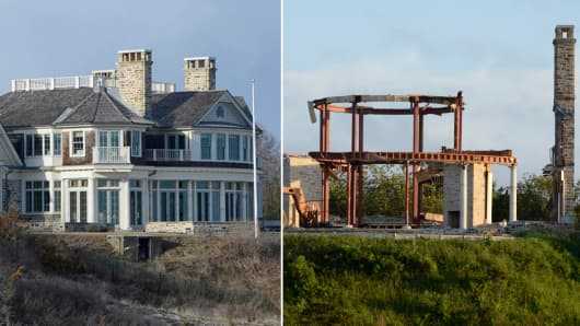 Steve Cohen's Hampton's house before and after.