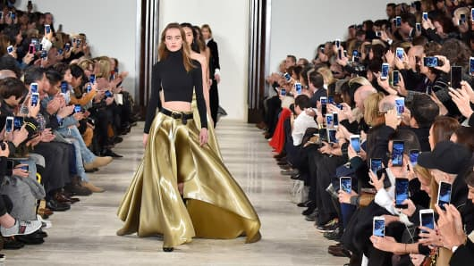 A model walks the runway at the Ralph Lauren Fall/Winter 2016 fashion show during New York Fashion Week on February 18, 2016 in New York City.