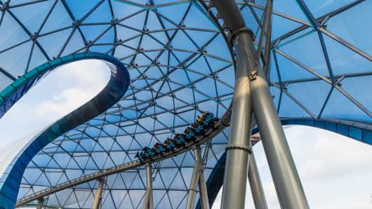 Visitors tour Disneyland's Tomorrowland on June 5, 2016 in Shanghai, China.
