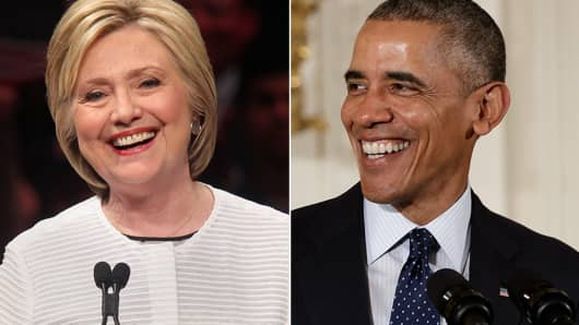 Democratic presidential candidate Hillary Clinton and US President Barack Obama