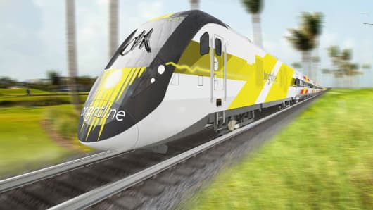 A rendering of a Brightline train.