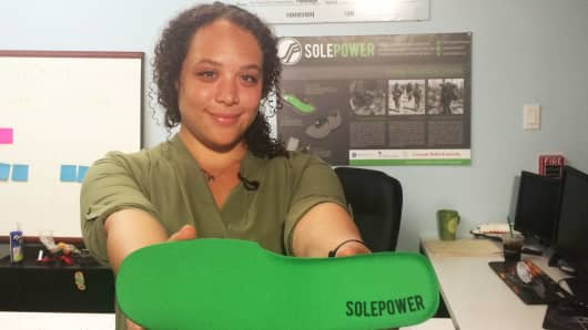 Hahna Alexander, 25, is co-founder and CEO of SolePower, a start-up that created an energy-harvesting device that can power portable electronics, like cellphones, wearables and GPS.