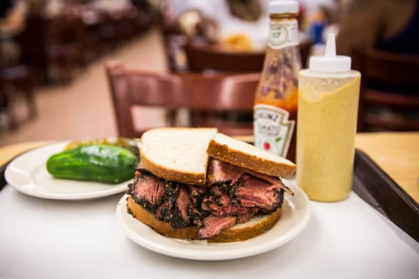 A pastrami on rye sandwich is displayed in Katz's Deli.