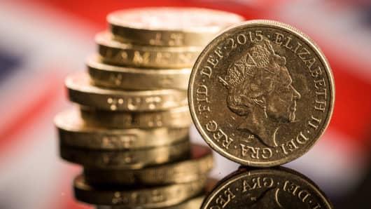 British one pound sterling coins.
