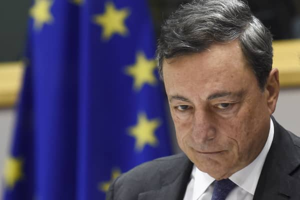 European Central Bank chief Mario Draghi attends the Committee on Economic and Monetary Affairs at the EU headquarters in Brussels on June 21, 2016.