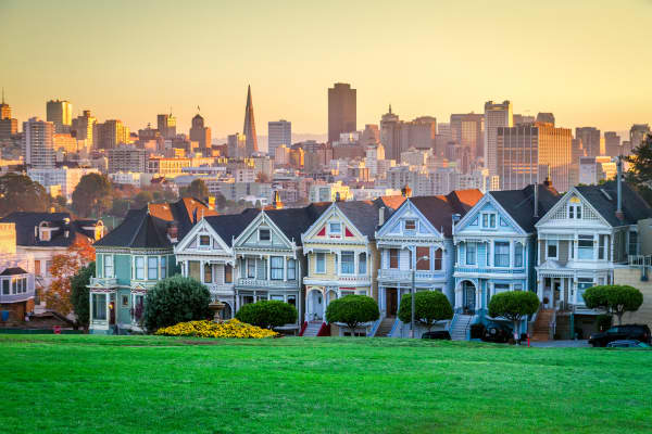 Victorian houses in San Francisco, California.