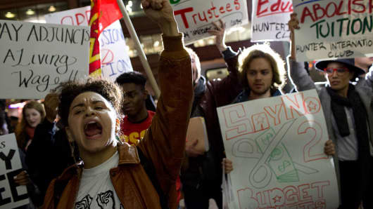 Student activists against tuition increases.