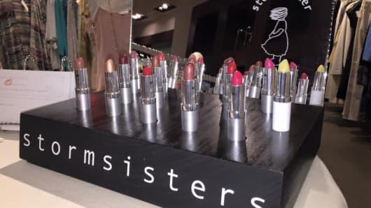 StormSister Spatique lipsticks on display.