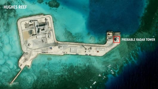 A satellite image released by the Asian Maritime Transparency Initiative at Washington's Center for Strategic and International Studies shows construction of possible radar tower facilities in the Spratly Islands in the disputed South China Sea.