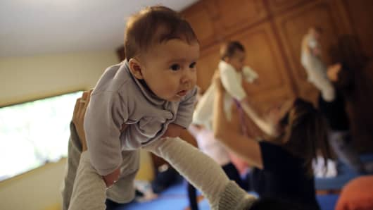 According to the center, the sessions provide mothers with flexibility, strength and endurance to prevent postpartum depression and to increase the bond with their babies. For the babies, it helps to stimulate natural flexibility and provide an easier and