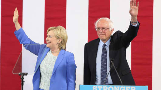 Bernie Sanders (I-VT), endorses former Secretary of State Hillary Clinton for President of the United States at a campaign rally at Portsmouth High School on July 12, 2016 in Portsmouth, New Hampshire.