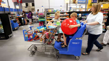 A family shops at the Walmart Supercenter in Springdale, Arkansas.